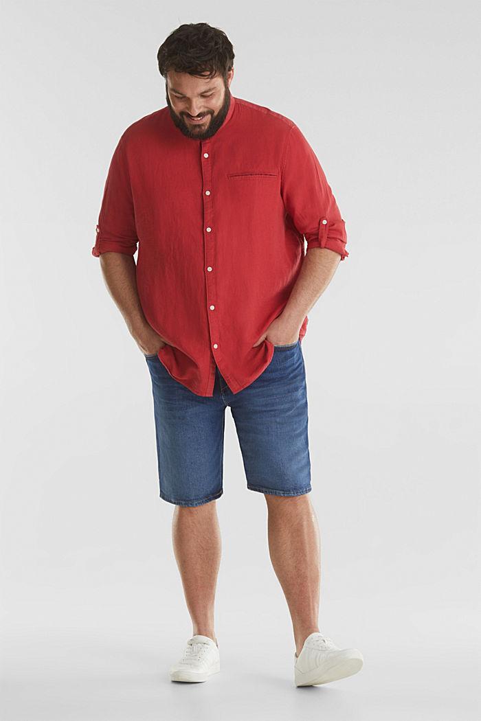 Stehkragen-Hemd, 100% Bio-Baumwolle, ORANGE RED, detail image number 1