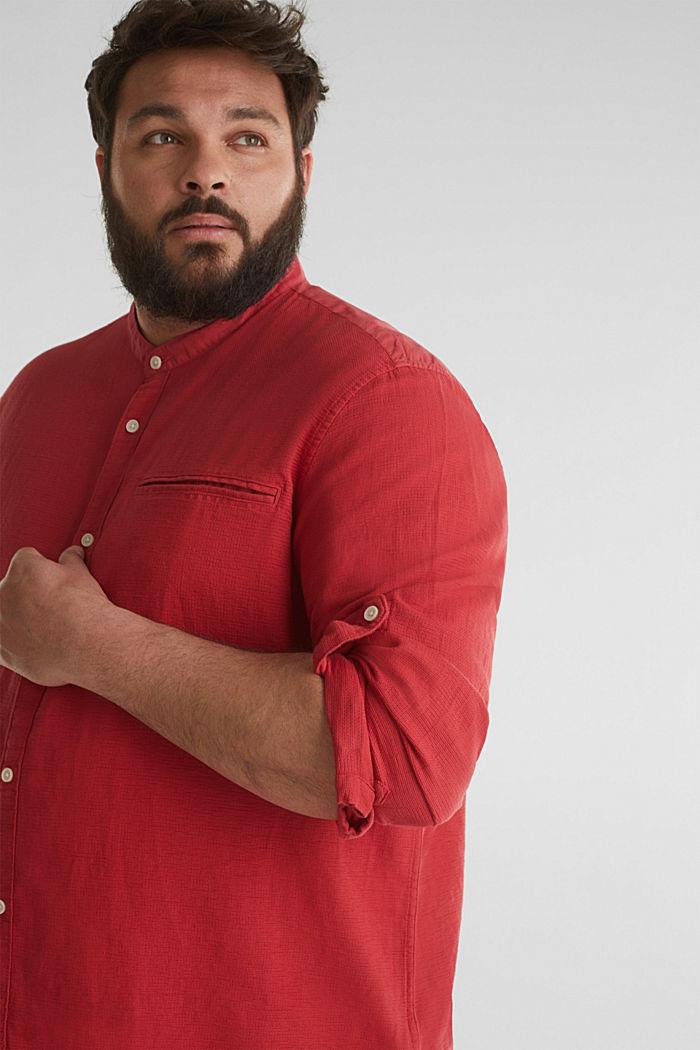 Stehkragen-Hemd, 100% Bio-Baumwolle, ORANGE RED, detail image number 2