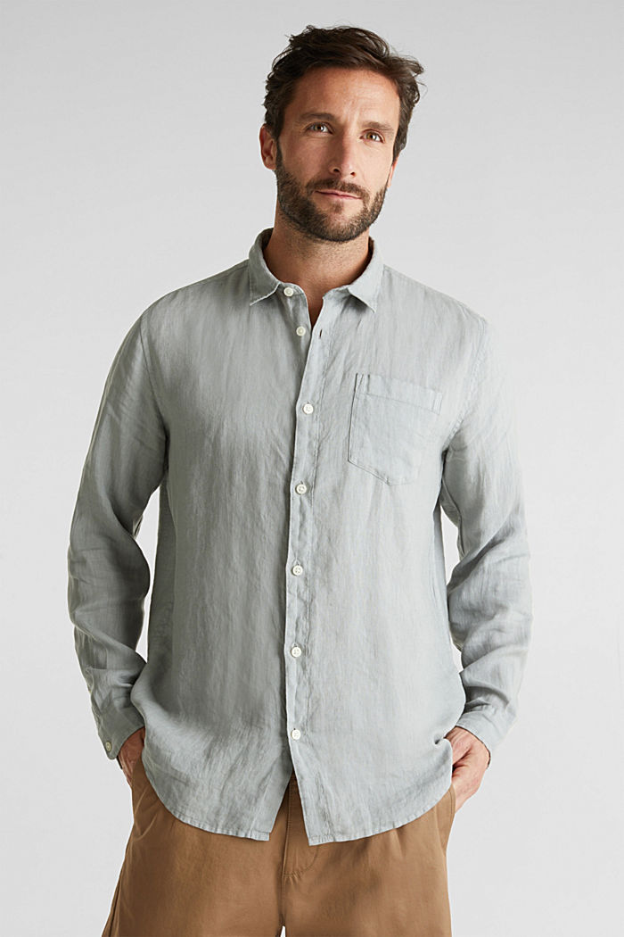 EarthColors®: Shirt made of 100% linen, LIGHT KHAKI, detail image number 0