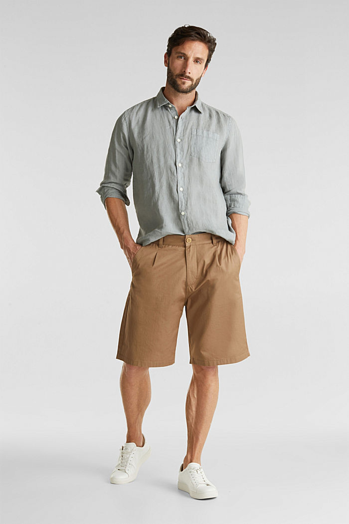 EarthColors®: Shirt made of 100% linen, LIGHT KHAKI, detail image number 1