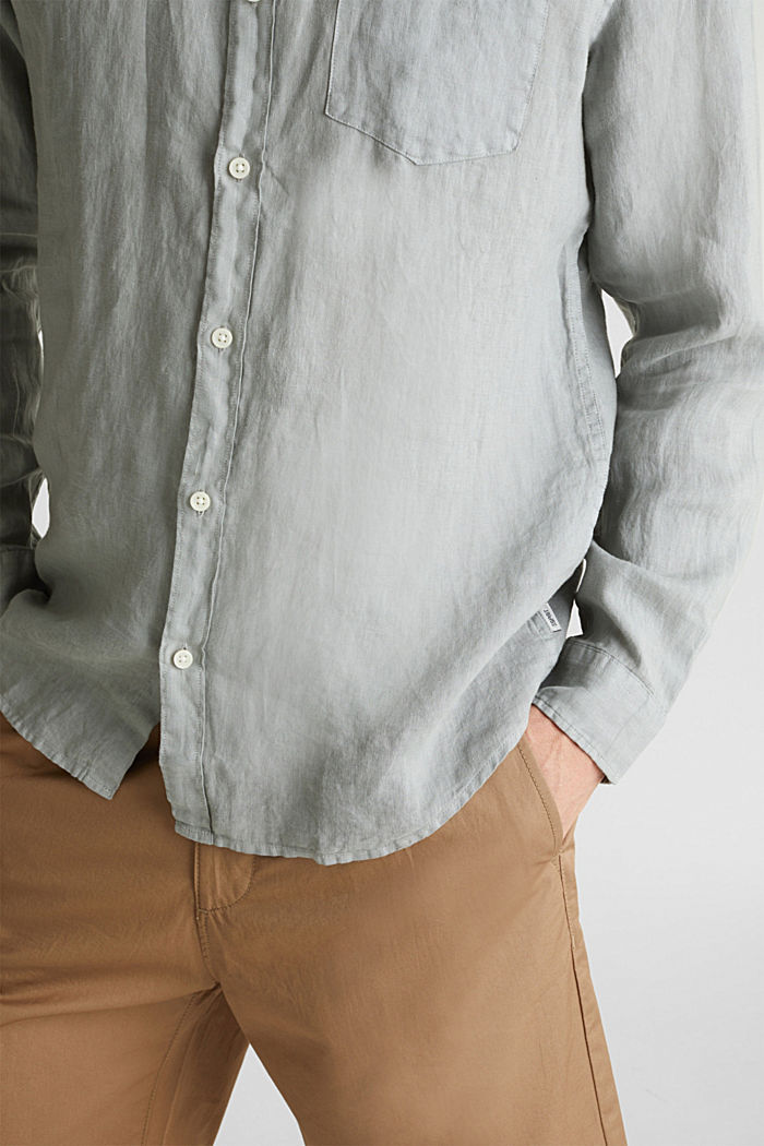 EarthColors®: Shirt made of 100% linen, LIGHT KHAKI, detail image number 2