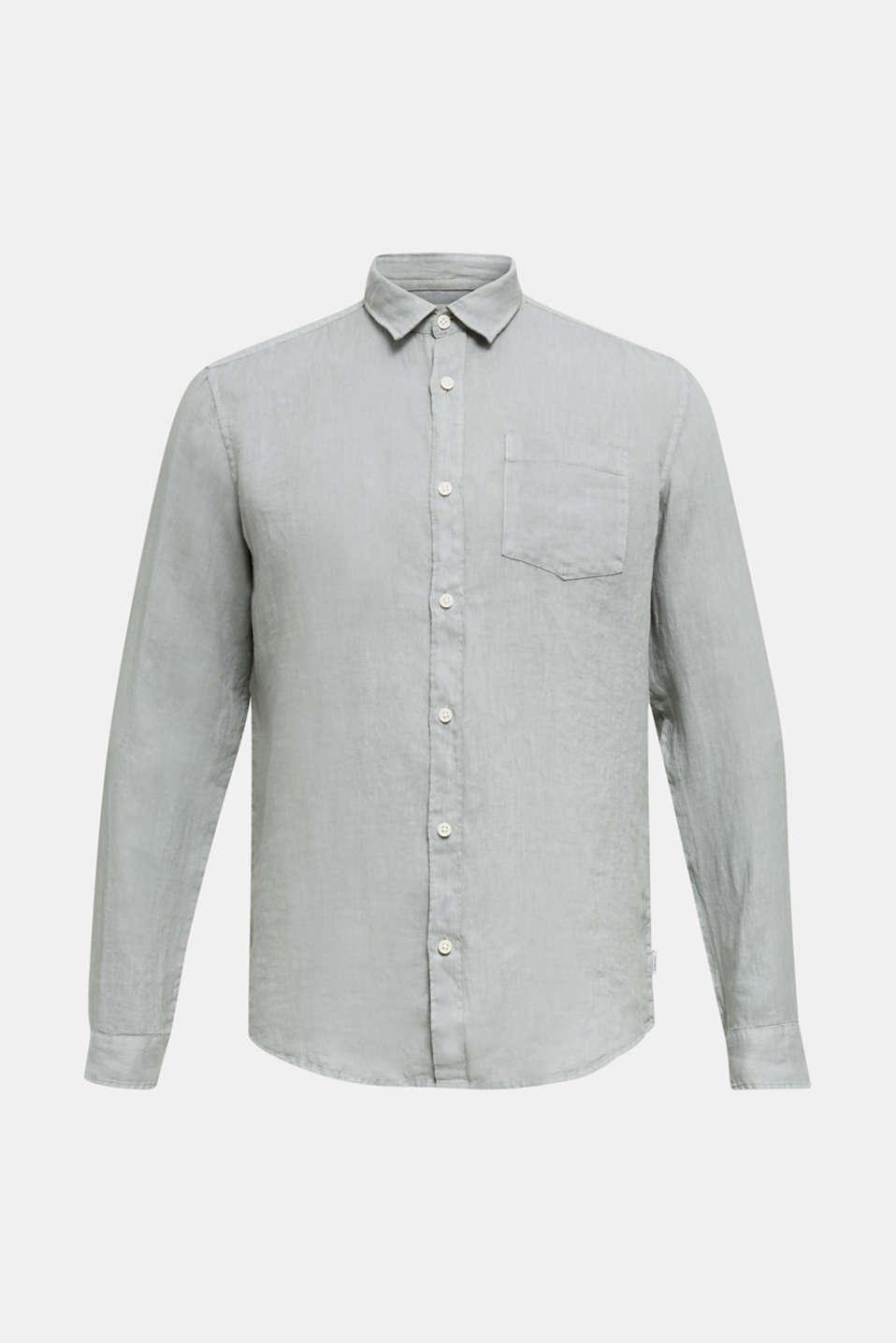 EarthColors®: Shirt made of 100% linen, LIGHT KHAKI 2, detail image number 6