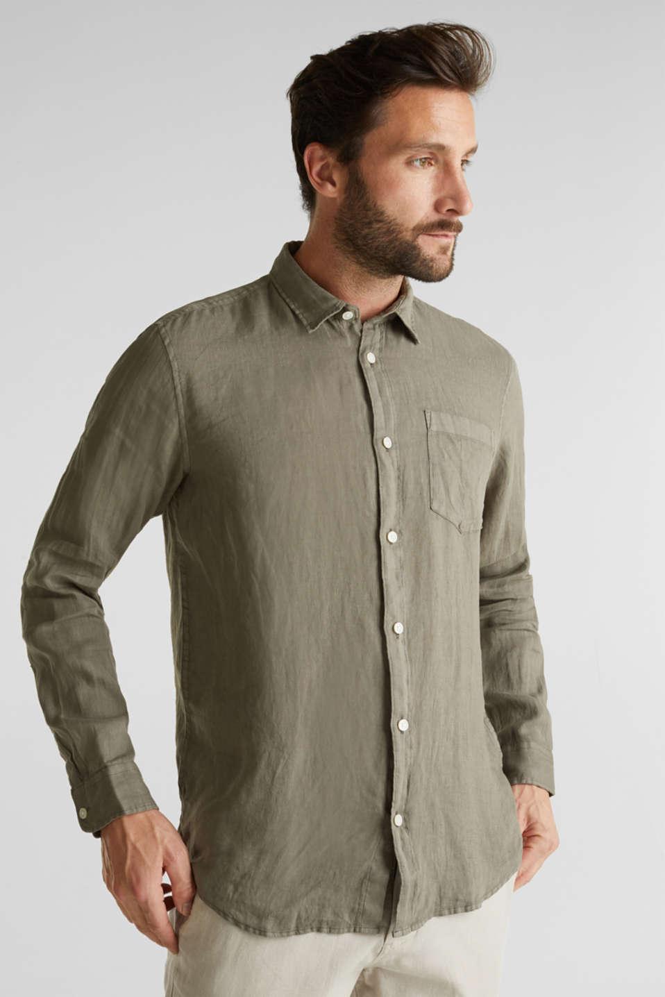EarthColors®: Shirt made of 100% linen, DARK KHAKI 2, detail image number 0