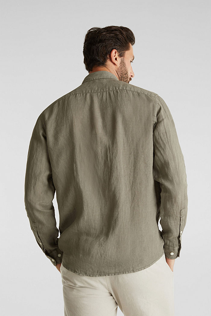 EarthColors®: Shirt made of 100% linen, DARK KHAKI, detail image number 3