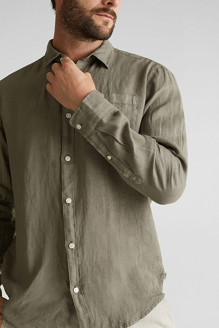 EarthColors®: Shirt made of 100% linen, DARK KHAKI, detail image number 6