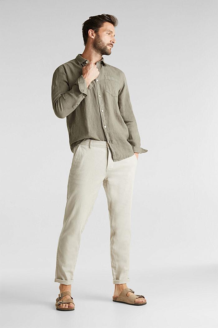 EarthColors®: Shirt made of 100% linen, DARK KHAKI, detail image number 1