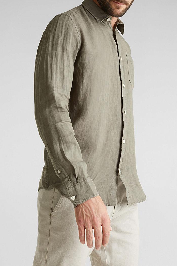 EarthColors®: Shirt made of 100% linen, DARK KHAKI, detail image number 2