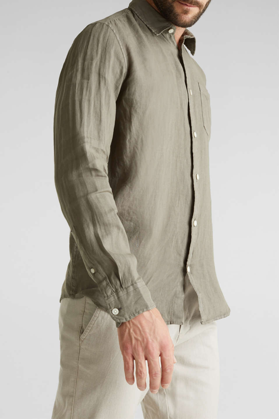EarthColors®: Shirt made of 100% linen, DARK KHAKI 2, detail image number 2