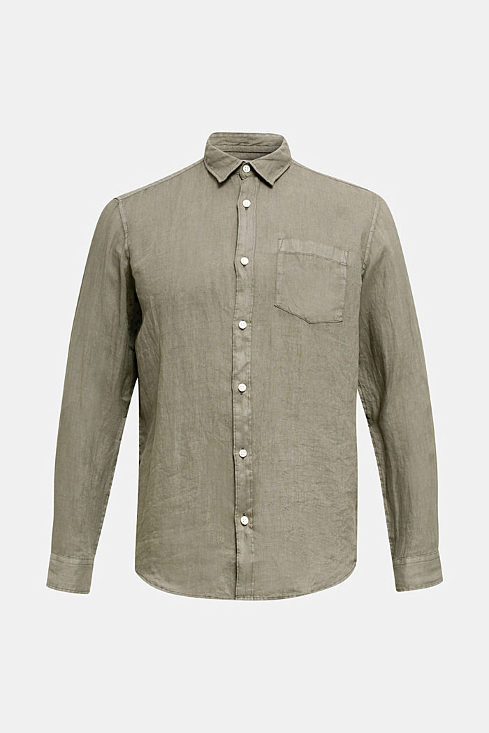 EarthColors®: Shirt made of 100% linen, DARK KHAKI, detail image number 7