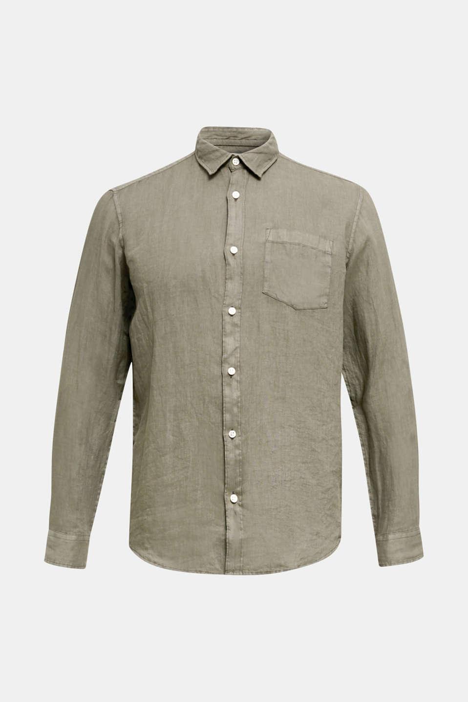 EarthColors®: Shirt made of 100% linen, DARK KHAKI 2, detail image number 7