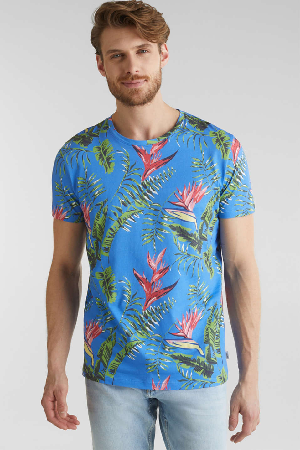 Jersey T-shirt with tropical print, 100% organic cotton, BLUE 4, detail image number 0