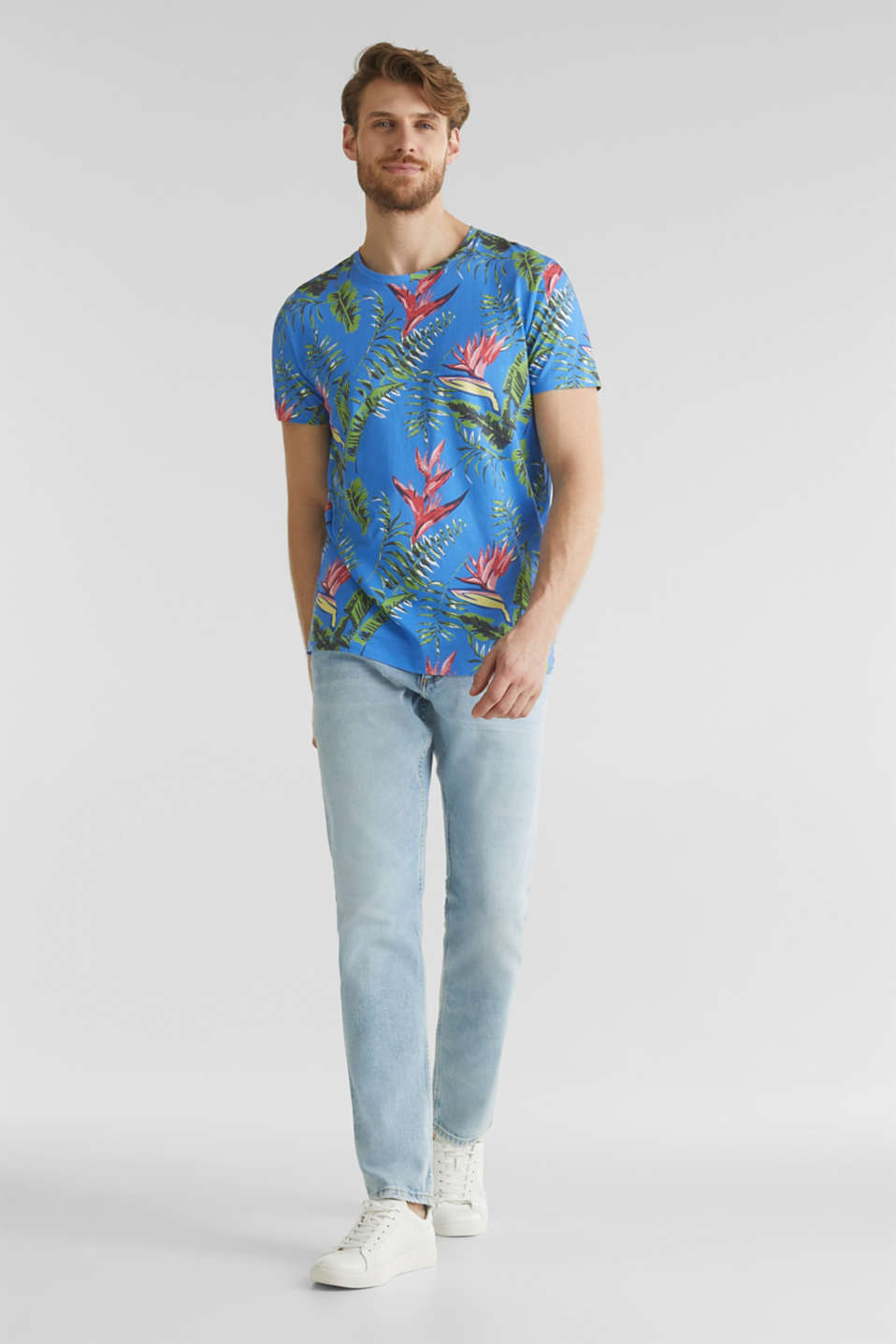 Jersey T-shirt with tropical print, 100% organic cotton, BLUE 4, detail image number 2