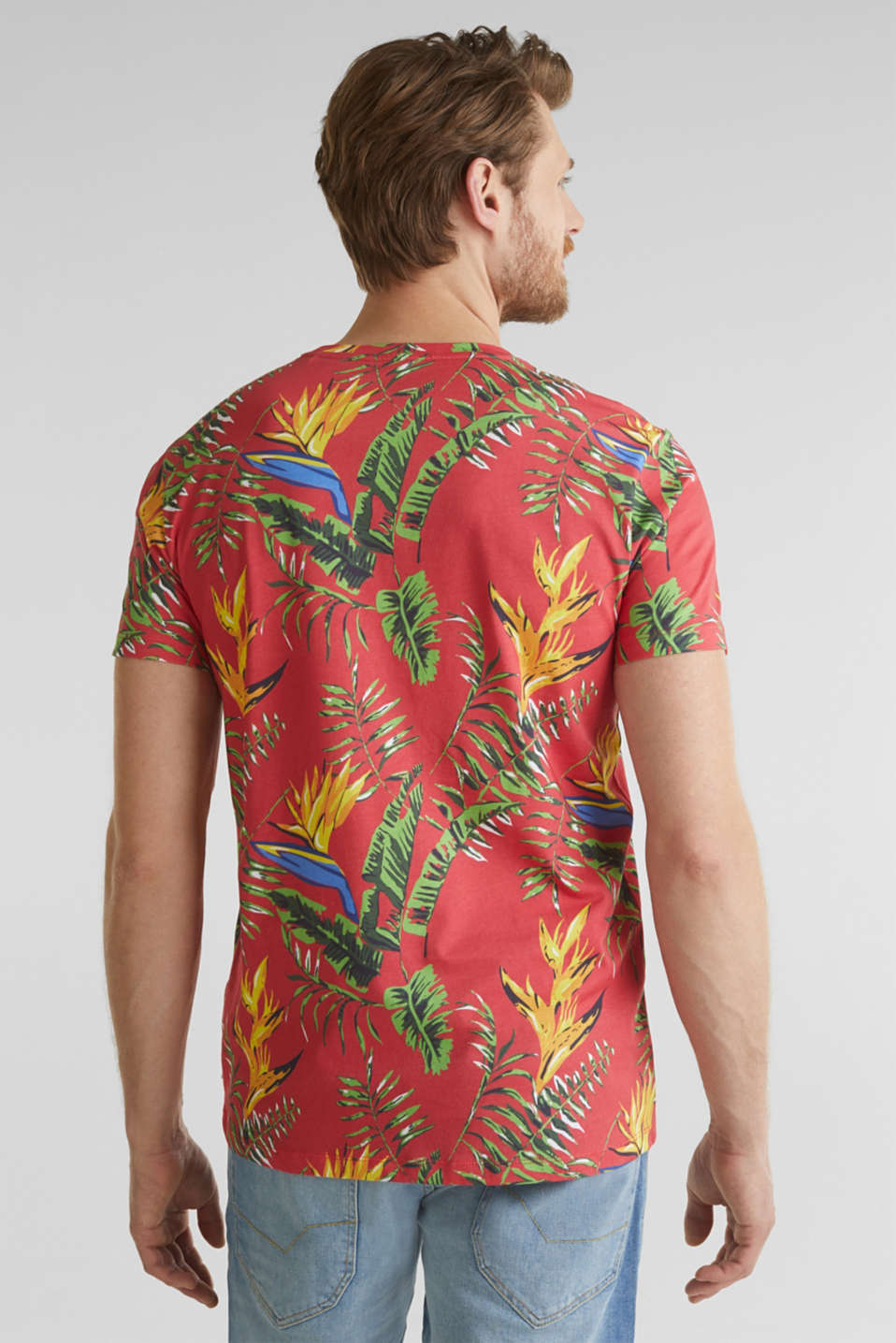 Jersey T-shirt with tropical print, 100% organic cotton, CORAL RED 4, detail image number 3