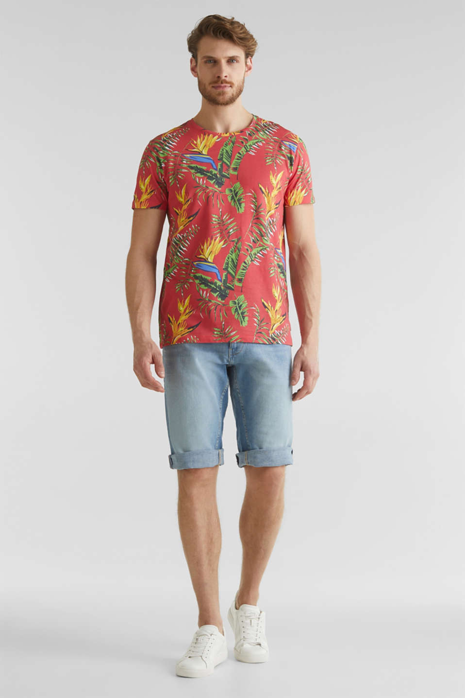 Jersey T-shirt with tropical print, 100% organic cotton, CORAL RED 4, detail image number 2