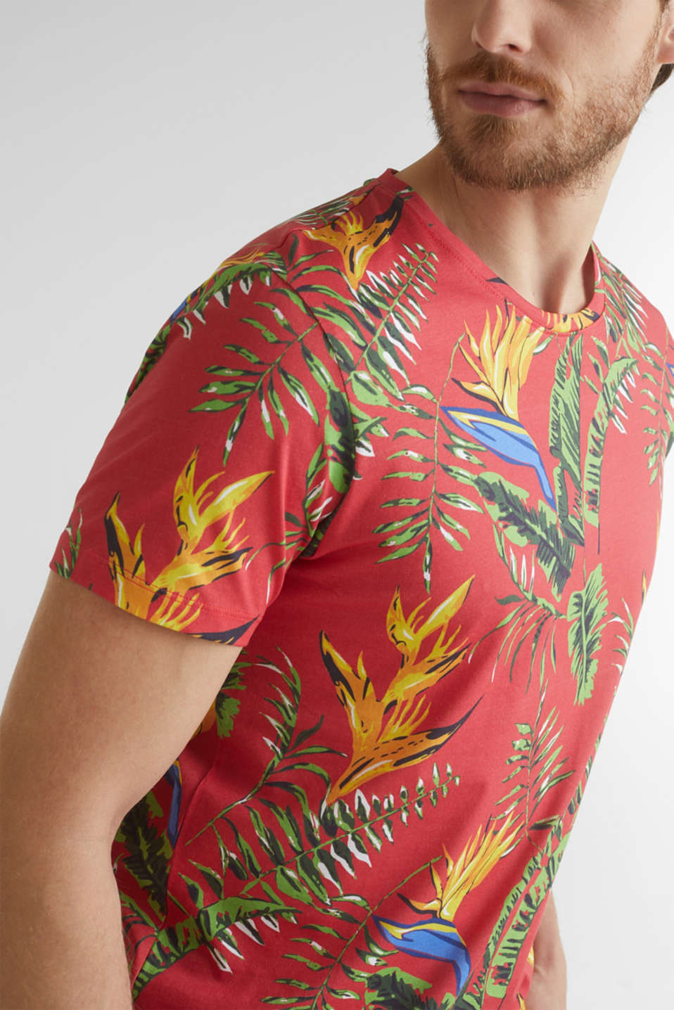 Jersey T-shirt with tropical print, 100% organic cotton, CORAL RED 4, detail image number 1