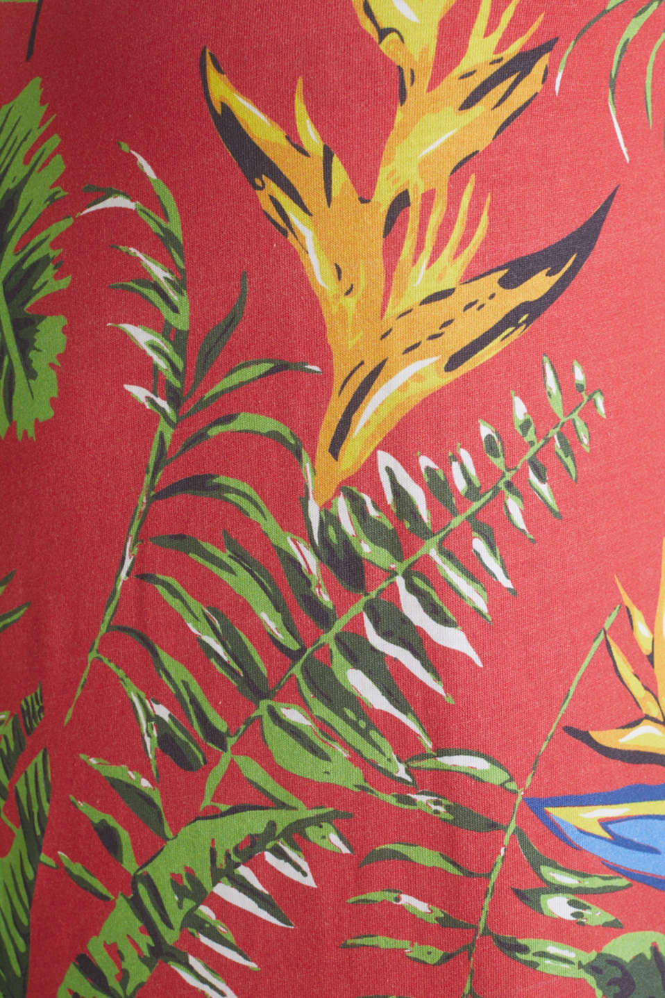 Jersey T-shirt with tropical print, 100% organic cotton, CORAL RED 4, detail image number 4