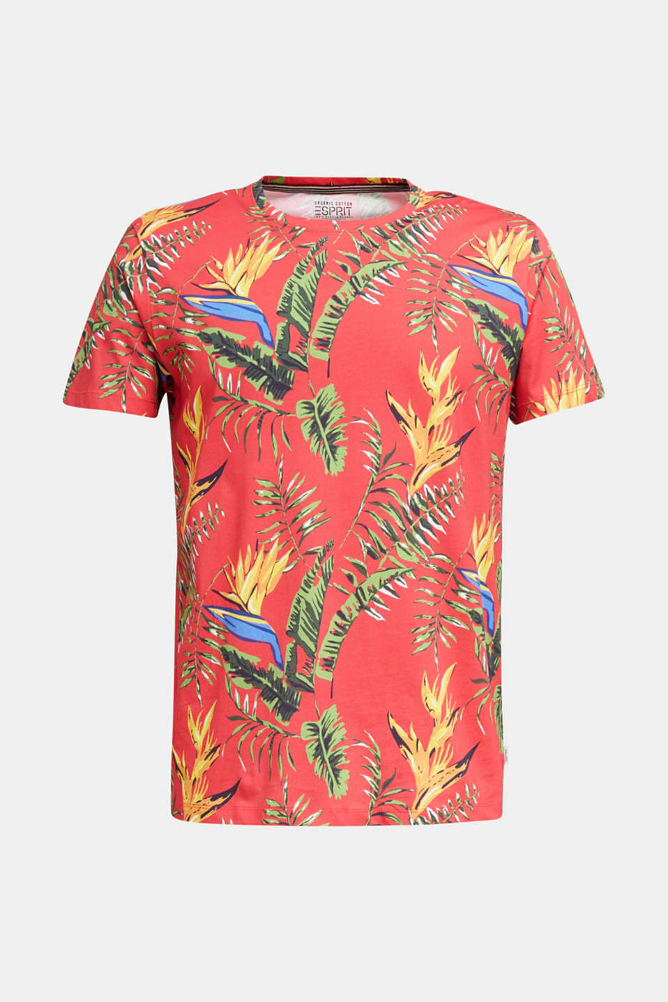 Jersey T-shirt with tropical print, 100% organic cotton, CORAL RED 4, detail image number 5