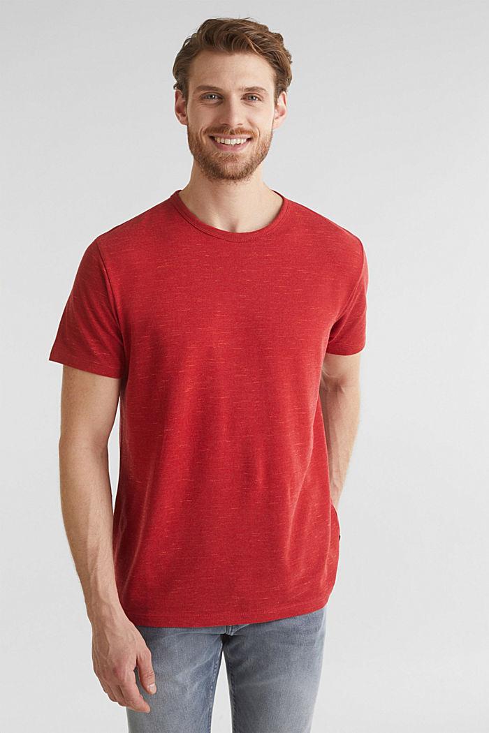 Piqué-Shirt in meliertem Look, CORAL RED, detail image number 0