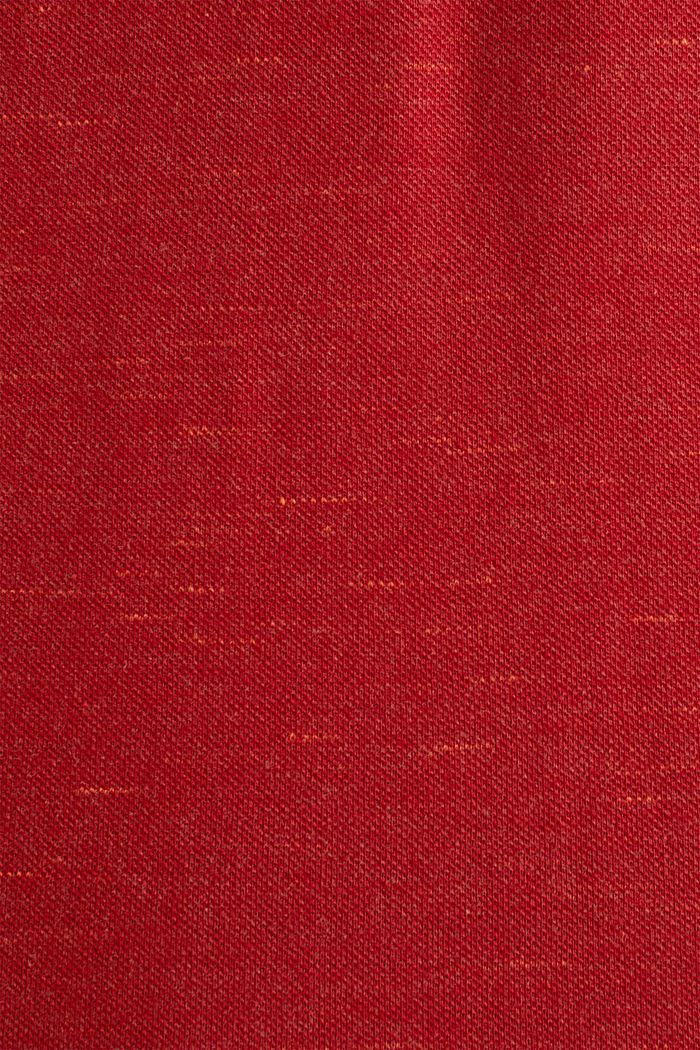 Piqué-Shirt in meliertem Look, CORAL RED, detail image number 4