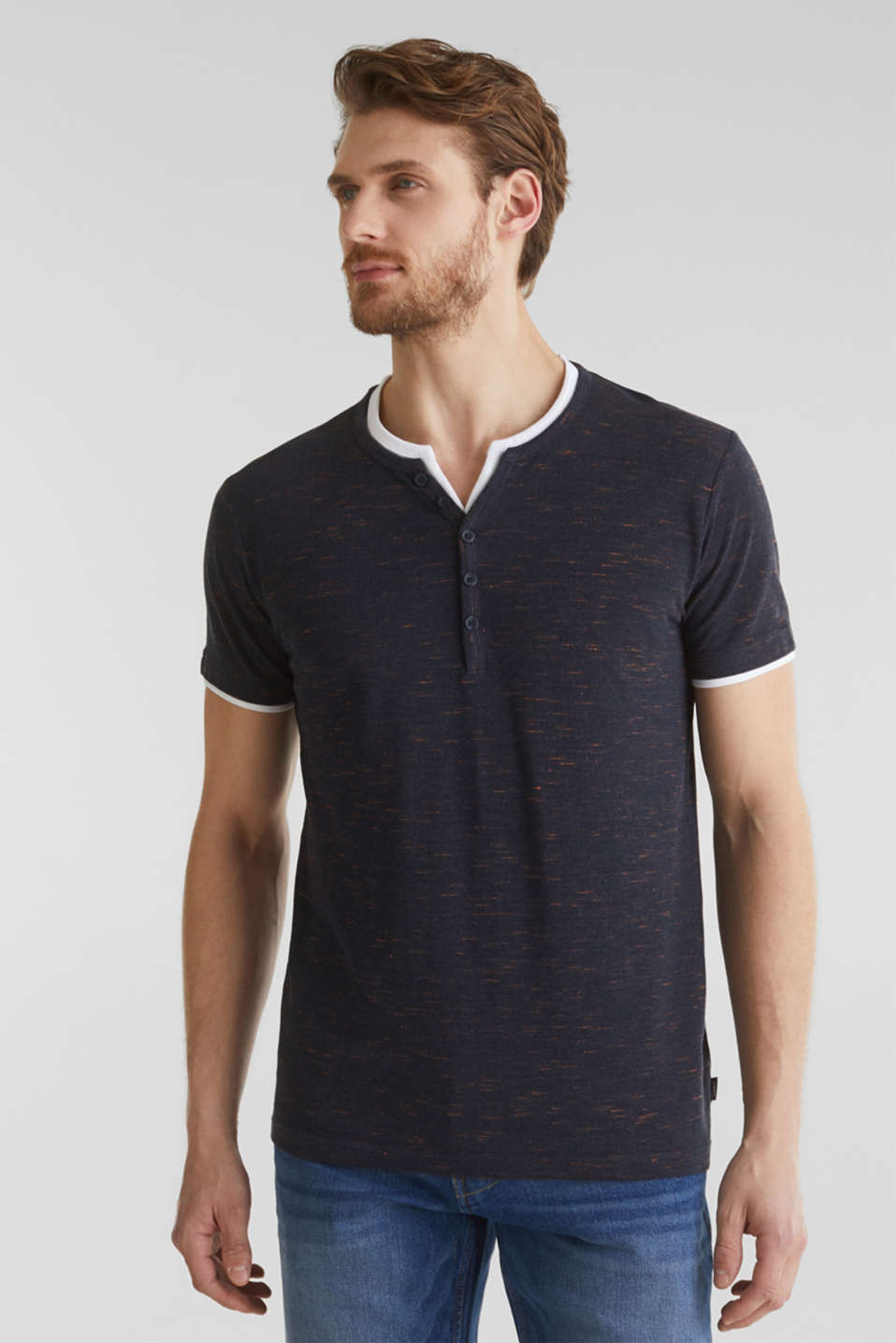 Piqué T-shirt in a layered look, NAVY 5, detail image number 0