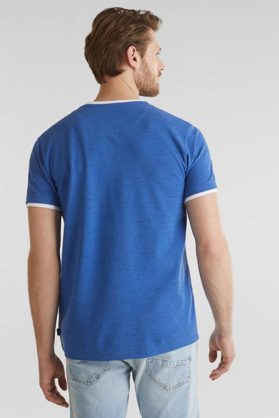 Piqué T-shirt in a layered look, BLUE 5, detail image number 2