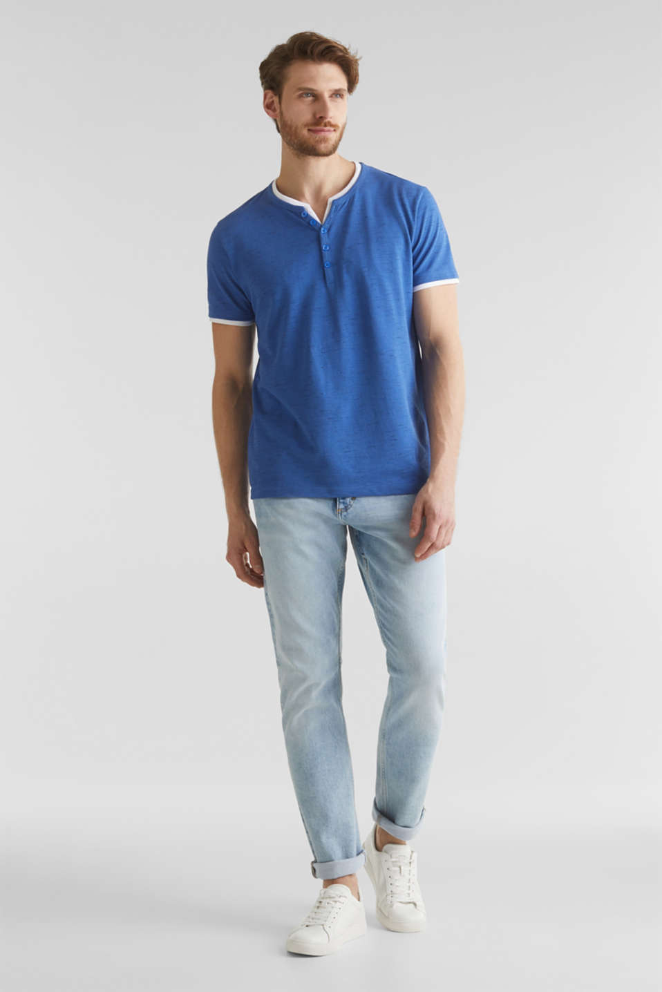 Piqué T-shirt in a layered look, BLUE 5, detail image number 1