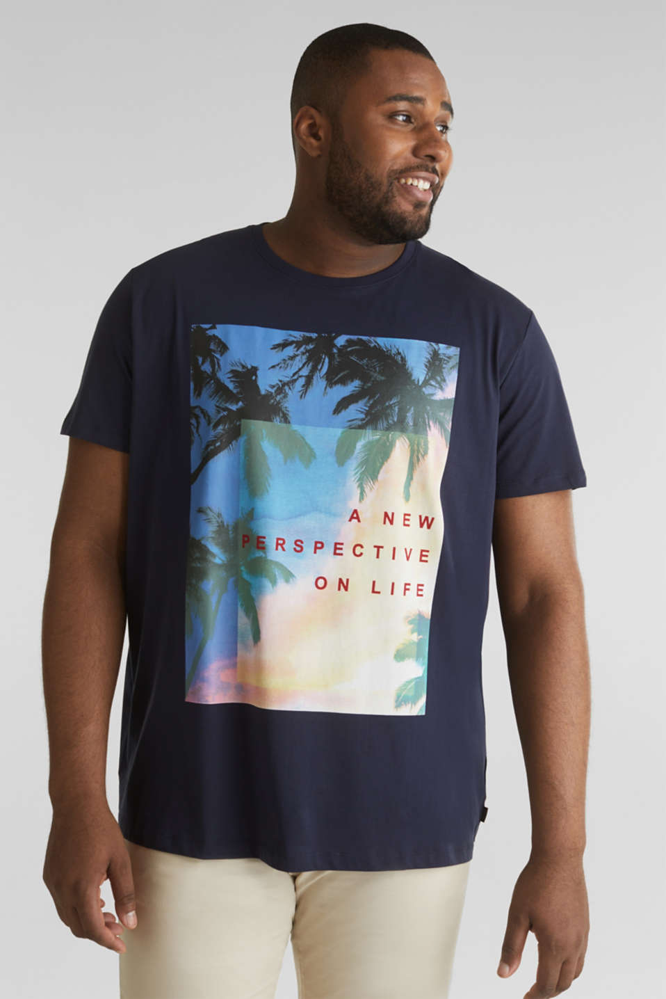 Printed T-shirt in 100% organic cotton, NAVY, detail image number 0