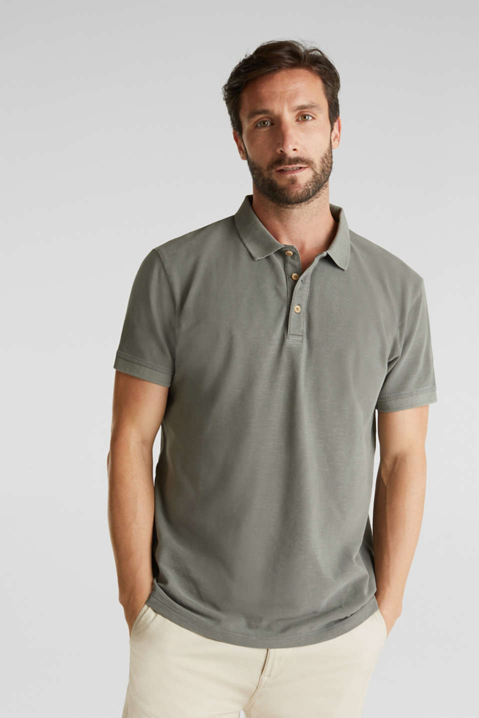 EarthColors®: piqué polo shirt, DARK KHAKI 2, detail image number 0