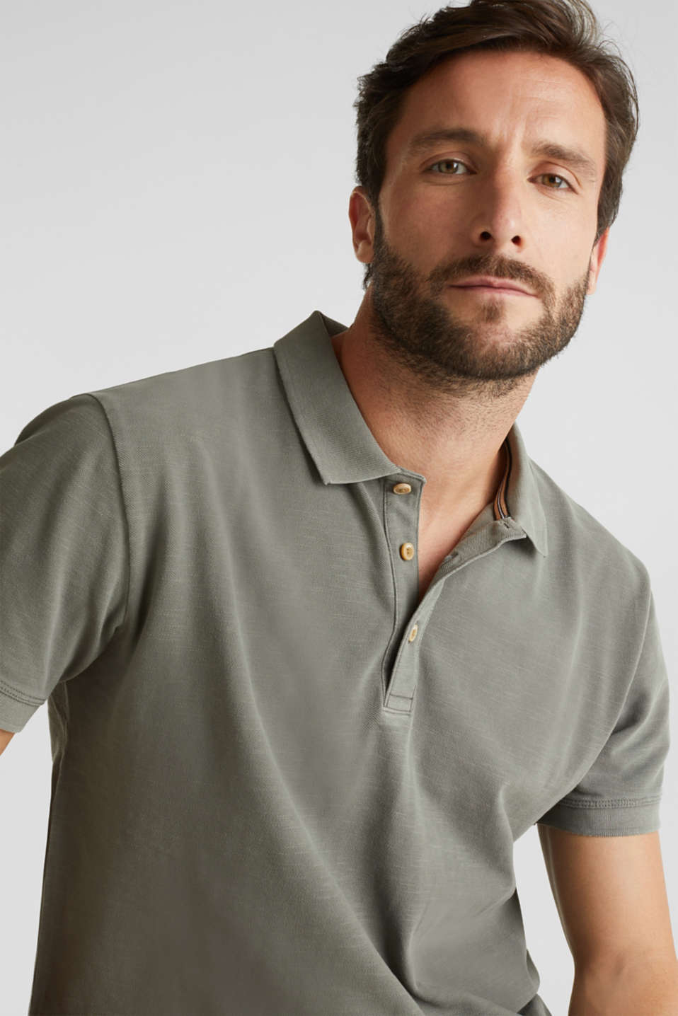 EarthColors®: piqué polo shirt, DARK KHAKI 2, detail image number 4