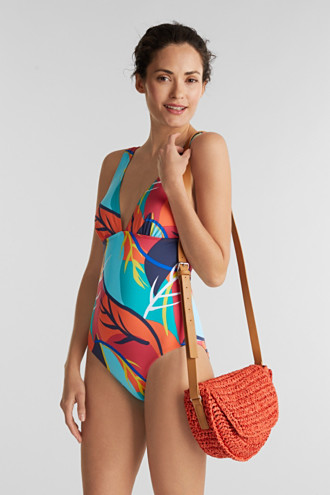 Unpadded swimsuit with a tropical print