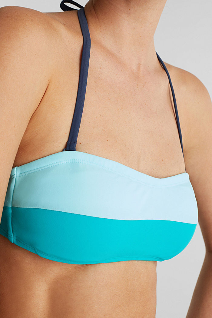 Padded top with detachable halterneck ties, TURQUOISE, detail image number 2