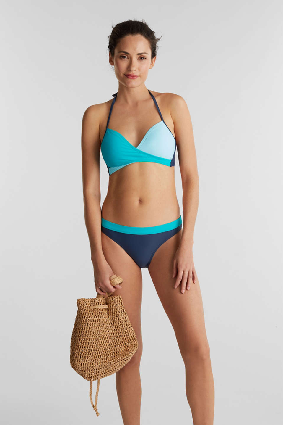 Padded halter neck bikini top, TURQUOISE, detail image number 0
