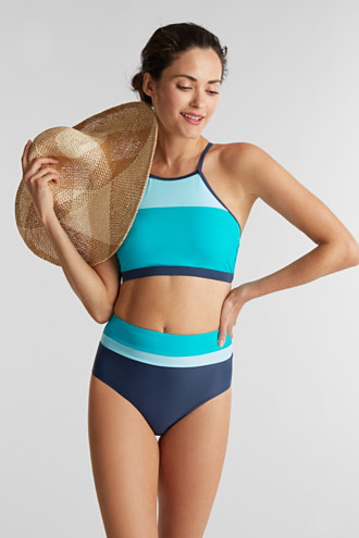 Padded colour block crop top