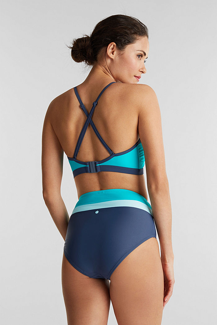 High-rise briefs with colour blocking, TURQUOISE, detail image number 2