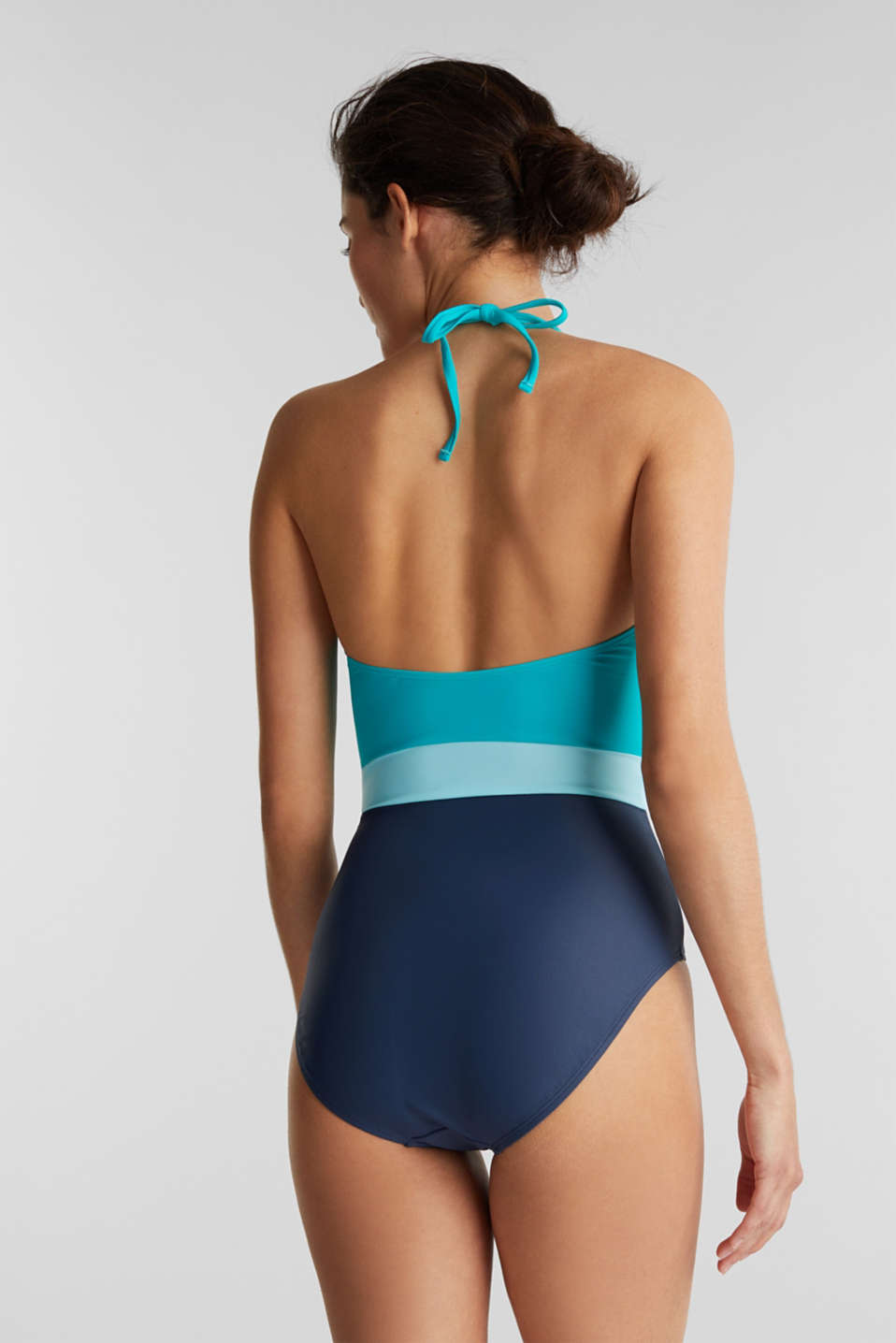 Swimsuit in a colour block look, TURQUOISE, detail image number 1
