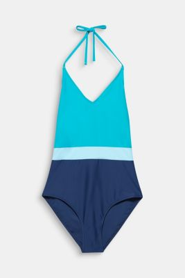 Swimsuit in a colour block look, TURQUOISE, detail