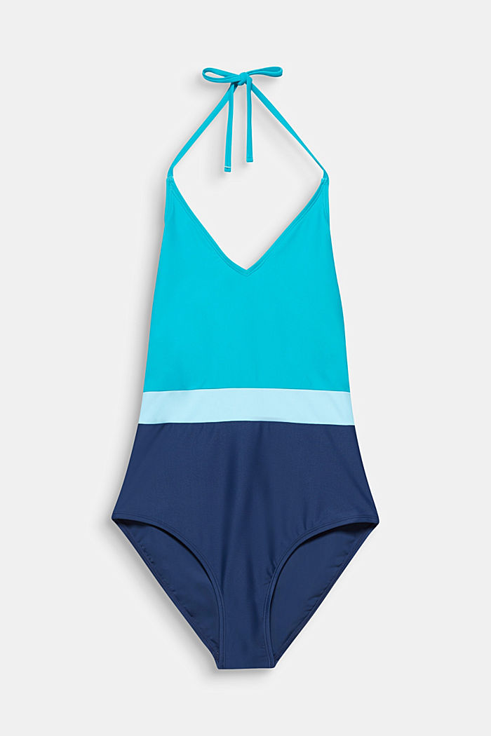 Swimsuit in a colour block look, TURQUOISE, detail image number 3