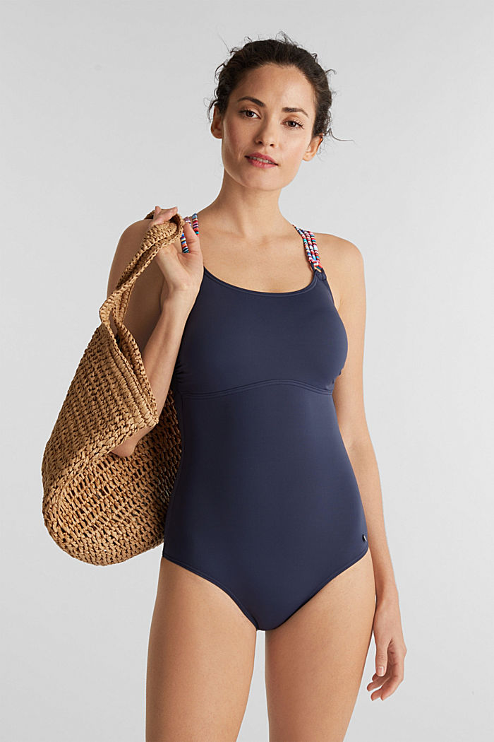 Padded swimsuit with multicoloured straps, NAVY, detail image number 0
