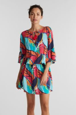 Tropical print beach dress, RED ORANGE, detail