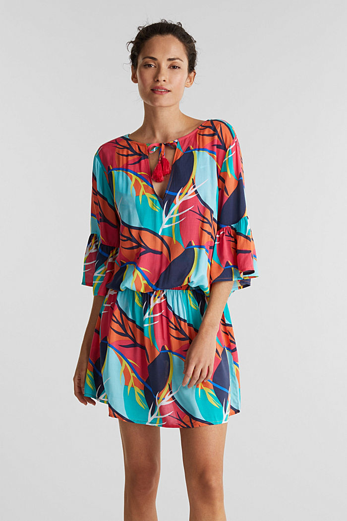 Tropical print beach dress, RED ORANGE, detail image number 0