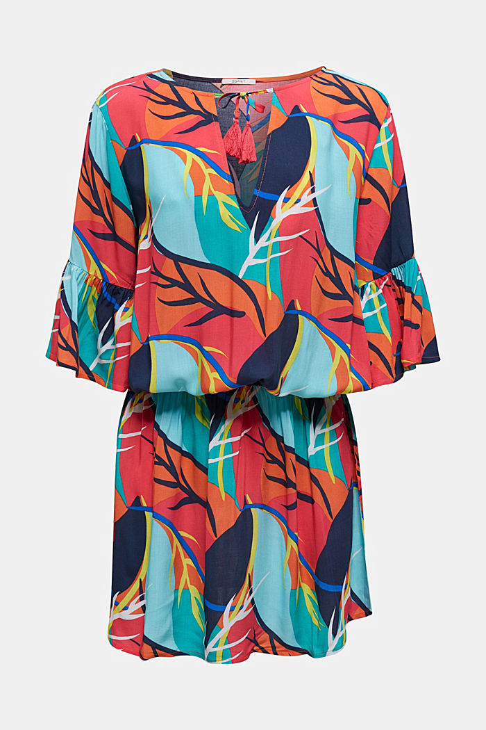 Strandkleid mit Tropical-Print, RED ORANGE, detail image number 2