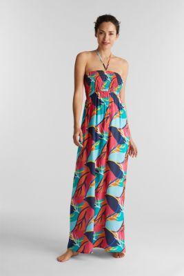 Tropical print beach dress, RED ORANGE, detail