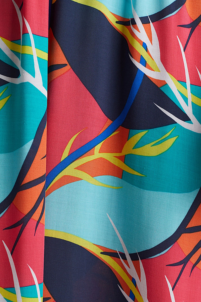 Tropical print beach dress, RED ORANGE, detail image number 4