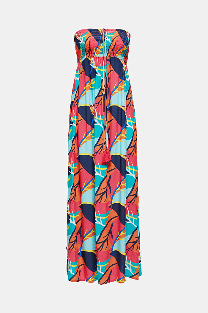 Tropical print beach dress, RED ORANGE, detail image number 2