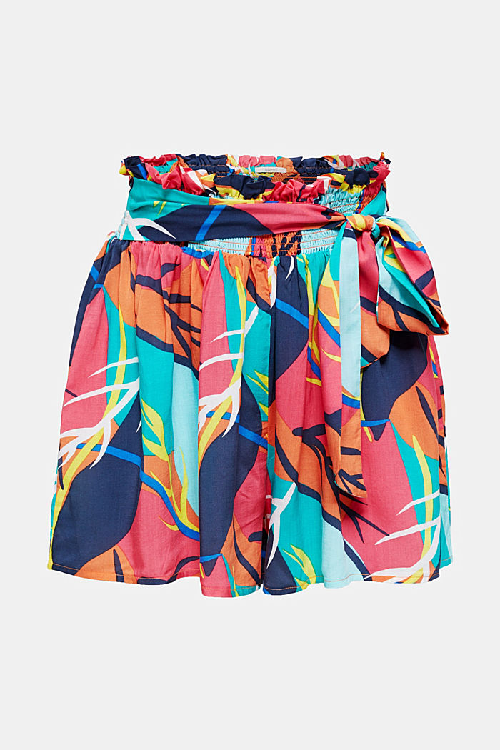 Strand-Shorts mit Tropical-Print, RED ORANGE, overview