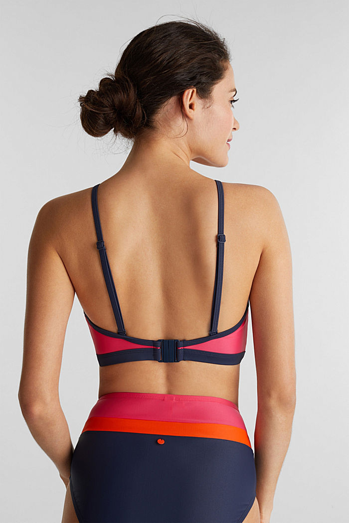 Padded colour block crop top, BERRY RED, detail image number 1
