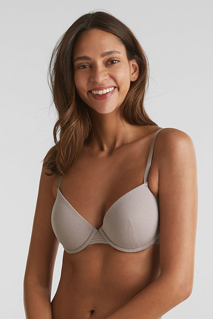 Padded underwire bra with a burnt-out pattern