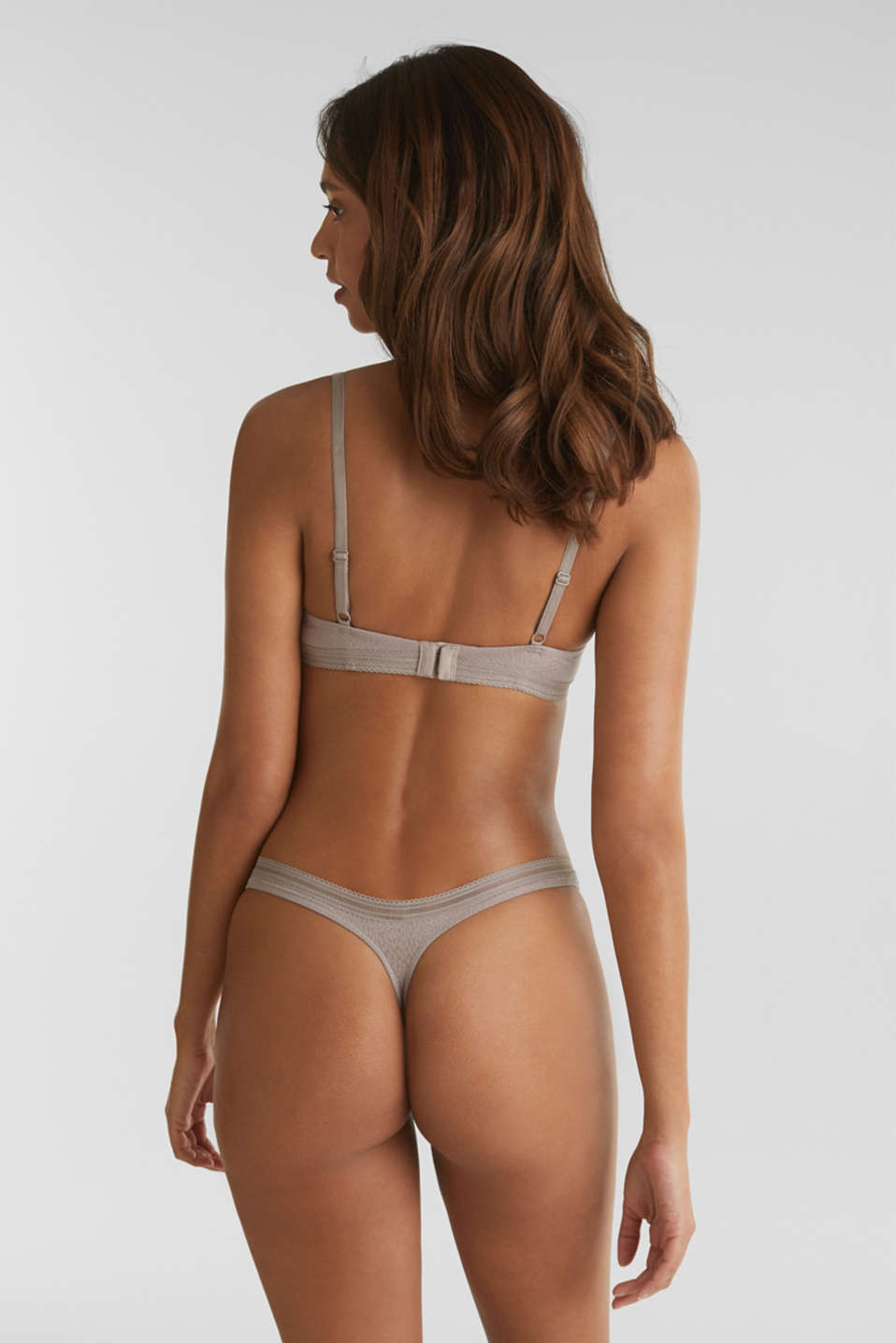 Padded underwire bra with a burnt-out pattern, TAUPE, detail image number 1