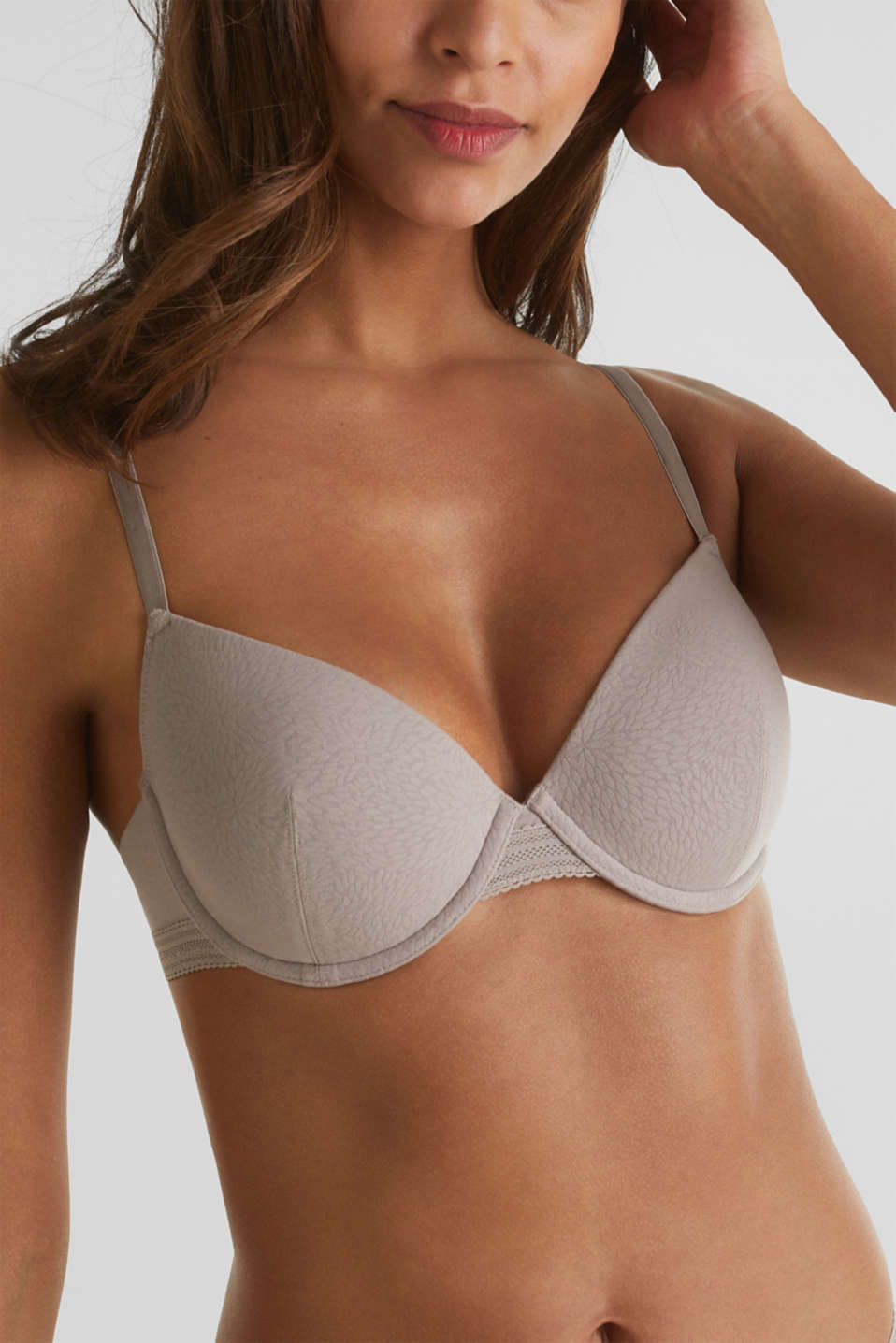 Padded underwire bra with a burnt-out pattern, TAUPE, detail image number 2