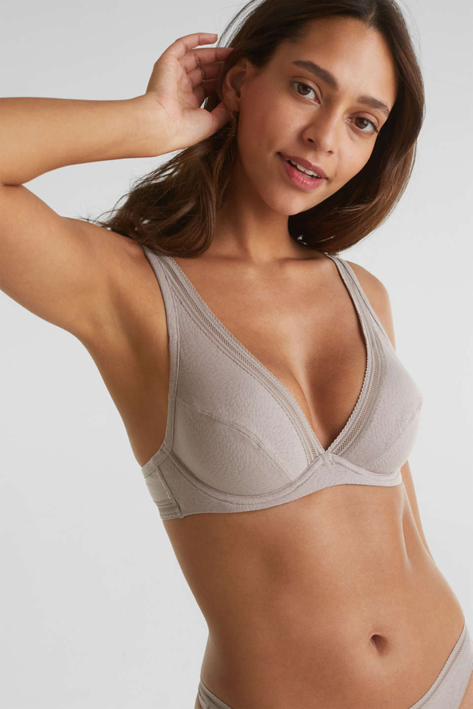Unpadded underwire bra with a jacquard pattern, TAUPE, detail image number 0
